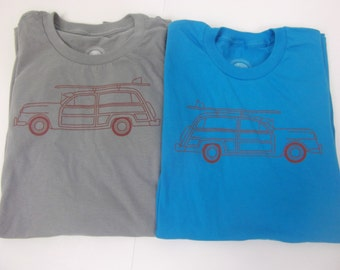 Woody Vintage Surf Wagon T shirt.  Screen printed by hand in Atlanta on 100% ring-spun cotton shirt.  Gray and Blue