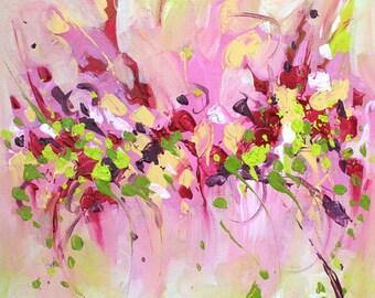 Canvas art Original Art Abstract painting acrylic on canvas Pink painting abstract wall art Landscape painting Modern art Contemporary art