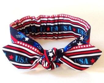 "July 4th baby knot headband, baby girl headband, kids clothes, kid clothing, baby girl clothes, baby clothing, Independence Day, ""Martha"""