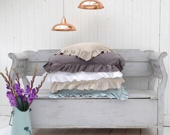 Linen Pillowcase, Ruffled Linen Pillowcases, Linen Bedding, Shabby Chic Bedding, Ruffled Linen, Bedroom Linen  -