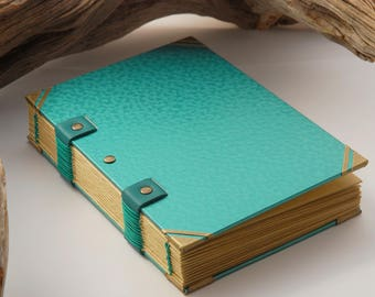 Grimoire, travel diary, notebook, A6, 144 pages, hammered, blanket size Coptic binding