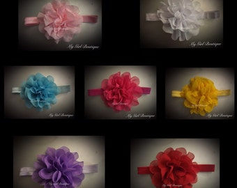 7 piece Large lace flower headband ,Baby headband, newborn headbands, infant headband, hair bow, baby gift set, large bow