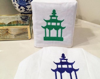 pagoda tissue box cover // chinoiserie decor // asian inspired decor // pagoda embroidery