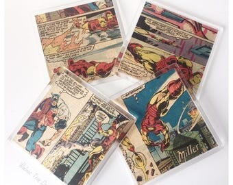 Iron Man Vintage Comic Coasters