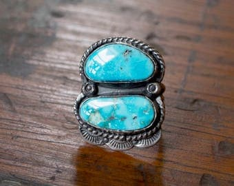 Double Kingman Turquoise Ring