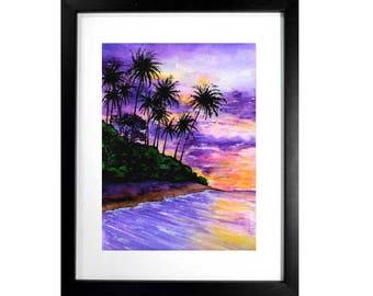 Tropical Paradise Art Print Purple Wall Decor Ocean Coast Sunset Poster