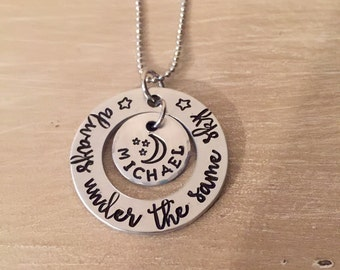 always under the same sky-stamped aluminum washer-military mom gift