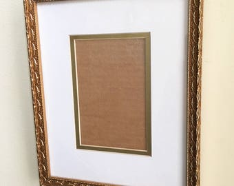Vintage Frame Gold Frame With Double Mat and Glass Gold Ornate Wood Wall Frame