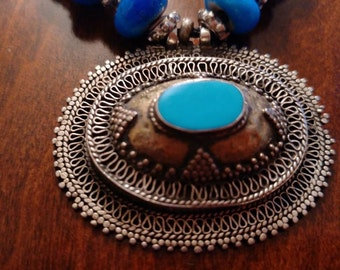 Vintage White Silver Metal Filigree and Turquoise Pendant with Blue Beaded Necklace