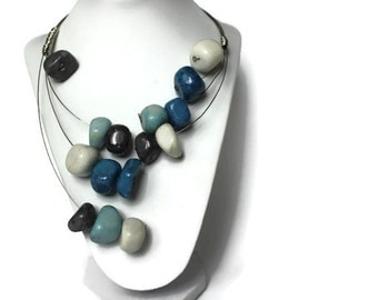 Bib necklace - Statement necklace - chunky necklace - Marble jewelry - blue necklace - Beaded Necklace - Christmas gift for her