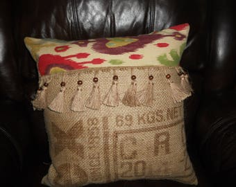 "Genuine Coffee Sack Burlap Feather-Filled Throw Pillow 18"" x 18"" Trimmed"