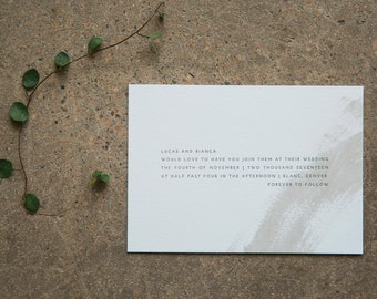 BIANCA - minimalist letterpress wedding invitation | abstract modern paint