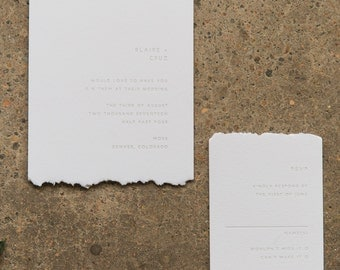 BLAIRE - minimalist letterpress wedding invitation | modern hand torn edges