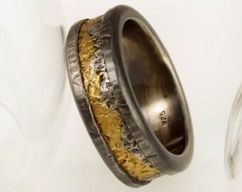 Man's Textured Ring, 24K Gold & Silver Men's Wedding Band, Man's Commitment Ring, 8 mm wedding Band, Rustic man's wedding Ring, RS-1082
