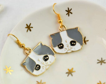 Cat earrings - cat head - Rockabilly - funny jewelry - Animal jewelry - Enamel earrings - Neon earrings - Funky - grunge - funny gift
