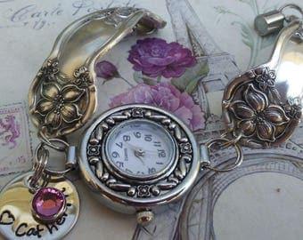 Handstamped name.Spoon watch, spoon bracelet watch, vintage silverware watch, Spoon Handle Watch