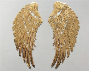 3Pair Angel Wing Feather Sequin Embroidered Fabric Large Patch Applique Stick Clothes Decorate Accessories diy Gold Silver Iron