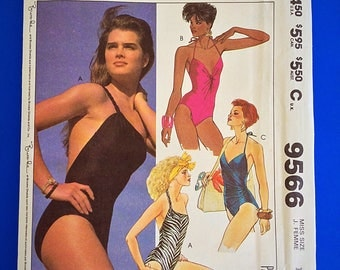 """80s SWIMSUITS, Brooke Shields, 3 styles, partial cut, Size 14, Bust 36"""", McCalls 9566."""