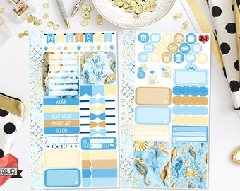 Salty Sea Air Personal Planner Sticker Kit | Ocean | Seashells | Starfish | Personal Planner | Planner Stickers