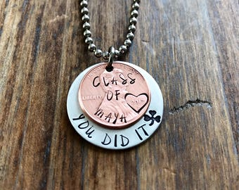 Class of 2017 lucky penny graduation necklace hand stamped penny you did it graduation gift lucky penny necklace custom penny necklace