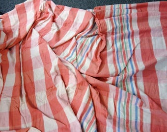 Vintage DOUBLE LENGTH Pink Plaid Sheet BLANKET