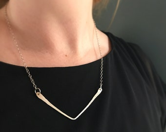 Forged Sterling Silver Chevron Necklace, Elegant textured sterling necklace, unique gift for her, mom, sister, daughter
