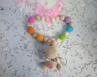 nursing necklace teething necklace baby teether baby teething toy breastfeeding necklace crochet beads toddler gift baby toy eco toy
