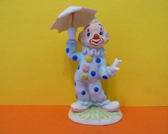 Lefton, Clown Figurine w / removable umbrella, Circa 1984