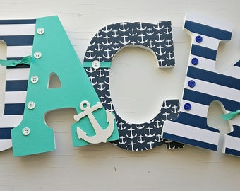 Nautical Letters Nursery Teal And Navy Wooden Wall Hanging