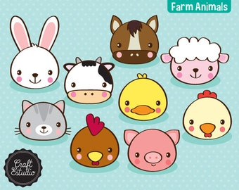 Farm Animals, Faces, animals, farm, Digital Kit, Clipart, Cow, Rabbit, Pig, Horse, Sheep, Cat, Rooster, Duck, High Resolution, cow