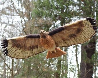 Hawk handmade needlel felted wool bird lifesize
