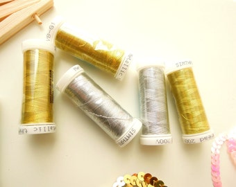 Gold metallic embroidery thread - Silver metallic thread - 200 yards metallic thread - Gold sewing thread - SIlver sewing thread. UK Seller