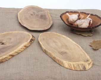 Oval board  real wood  EXPENSIVE oak Slab Rustic Cake Stand Large Wood Slices Centerpiece wood Cake Cupcake Plate  Wood Slice Rustic Decor