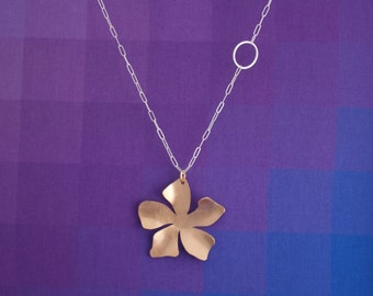 Bronze Flower Pendant, Long Necklace with Bronze Flower