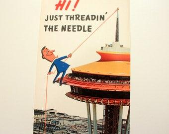 The Space Needle Postcard, Seattle Postcard, The Space Needle Seattle, Funny Postcard, Cartoon Postcard, Vintage Seattle Souvenir