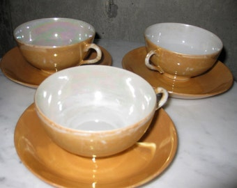 Vintage China Peach Lustreware Made in Japan Porcelain Midcentury 1940s