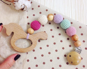 Organic wooden teething toy rattle  - natural waldorf baby toy