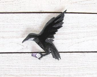 Gothic Flying Crow Brooch