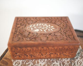 Vintage wood carved box