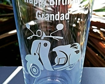 Personalised Engraved Scooter Pint Glass - New - Vespa, Lambretta