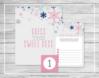 Winter Baby Shower Guess The Mess Game - Printable Baby Shower Guess Sweet Mess Game - Baby It's Cold Outside Baby Shower - SP141