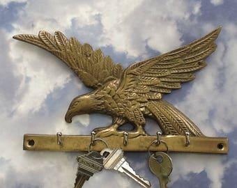 Brass Eage Key Rack~5 Hooks~Vintage Brass Key Holder~Eagles~Solid Brass~Gifts for Men~Key Holders~Wall Mount~Vintage Brass~Americana Decor
