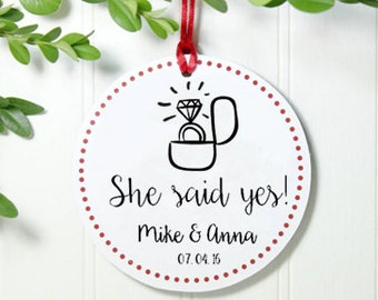 Personalized Engagement Ornament, Personalized Glitter Ornament, Engagement Gift, Just Engaged Gift, Engaged Ornament,Christmas Gift IB2OFS