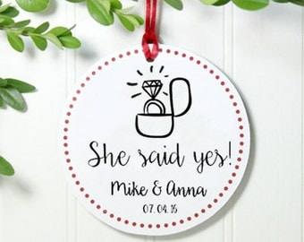 Personalized Engagement Ornament, Personalized Glitter Ornament, Engagement Gift, Just Engaged Ornament, She Said Yes! IBO2FS ro1