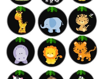 Baby Jungle Edible Cupcake/Cookie Toppers