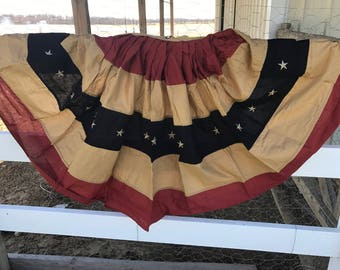 Hand tea stained Primitive American Flag bunting tea stained 72x36