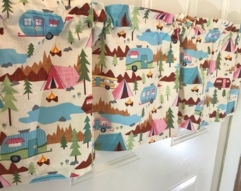 Timeless treasures camping retro camper travel window valance