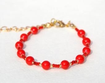 gift\for\womens bracelet Coral bracelet Beaded bracelet Coral beads bracelet Red bracelet Girlfriend gift|for|her birthday gift for sister