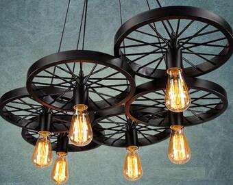 6 wheels Pendant light Industrial lighting for Bar Pendant lighting Retro Light fixture Rustic lighting Restaurant light