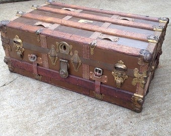 Antique Steamer Trunk Vintage travel stickers - Vintage Coffee table or blanket chest Steam punk latches OUTSTANDING cond.